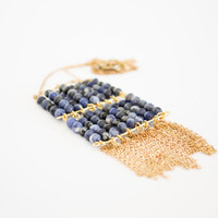 Sodalite Fringe Trendy Brass Necklace