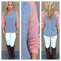 Grey Knit Neon Pink Sleeve Sweater