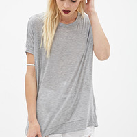 FOREVER 21 Oversized Knit Tee Heather Grey