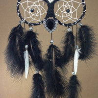 Black, White & Silver Owl Dreamcatcher