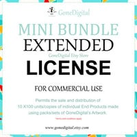 Mini Extended License Bundle 10 Mini License in 1 Commercial Use No Credit Permit Sale of 10x100 Units of an End Product Paper Pack License