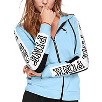 Victoria's Secret Pink Stylish Women Loose Print Stitching Color Zipper Hoodie Long Sleeved Sweater Coat Sky Blue I