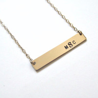 Monogram Necklace Jewelry Personalized Gold Bar Necklace Name Necklace Initial Necklace Bridesmaid Gifts Monogram Necklace