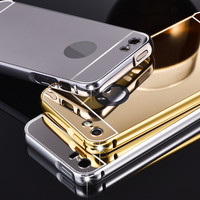 For Apple iPhone 5 5s Case,New Luxury Metal Aluminum Alloy Frame Mirror Acrylic back Cover phone Cover For iPhone 5