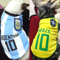 Summer Cool Cat Clothes Football Jersey Cotton Sport Pet Tshirt Clothing For Cats Kitty Vest Costume XS-XXL