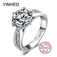 YINHED Classic Woman Wedding Ring Real Solid 925 Sterling Silver Jewelry Ring 2 Carat Cubic Zirconia CZ Engagement Ring ZR105