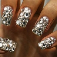 CRYSTAL Nail ART Acrylic False HEART Glitter RHINESTONE