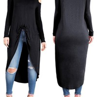 Black Swallowtail Cut Out Off-shoulder High-low Long Sleeve Casual Midi Dress