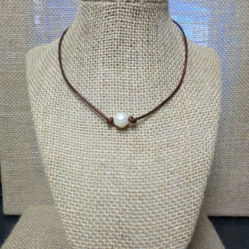 Grade A FRESH WATER pearl genuine leather cord choker necklace slip knot closure You CHOOSE Color Cord, gift