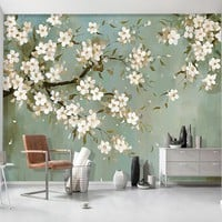 European Style Hand Painted Pastoral Orchid 3D Wall Mural Wallpaper Living Room TV Sofa Study Background Wall Papers Home Decor