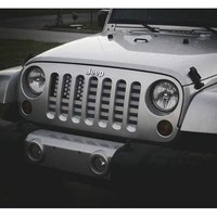 American Flag (Greyscale) / Jeep Grill (1-2 Week Delivery)