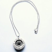 Pablo Valencia- Sterling Silver Answer Lies Within Compass Necklace