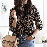 Hot seller of casual, button-down, long-sleeved leopard-print shirts
