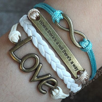 """Full of infinite love Valentine's bracelet-Antique bronze""""where there's a will there's a way""""bracelet, LOVE & unlimited  bracelet J-42"""