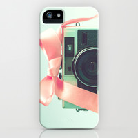 Retro Camera and Pink Bow II iPhone & iPod Case by AC Photography