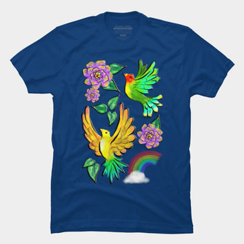 Birds Flowers And Rainbows Doodle Pattern T Shirt By BluedarkArt Design By Humans