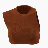 Multi Cuts High Neck Knit Bikini Top - Caramel Brown