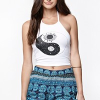 LA Hearts Ying Yang Cropped Halter Tank Top - Womens Tee - White