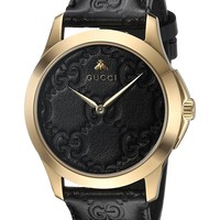 Gucci Gold-Tone and Leather Casual Black Watch(Model: YA1264034)