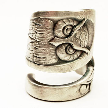 Owl Ring Spoon Ring with Owl Sterling Silver, Handcrafted in Your Size (3072)