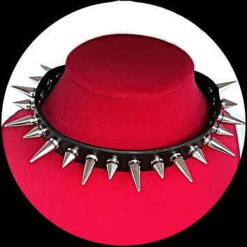 Black Genuine Leather Spiked Choker Necklace - 24mm & 10mm Silver Tone Spikes