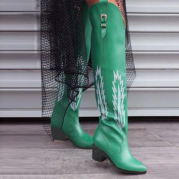 Fashion Embossed Women Knee High Boots Pointed Toe Cowboy Boots Women Mid Calf Chunky Wedges Boots Runway