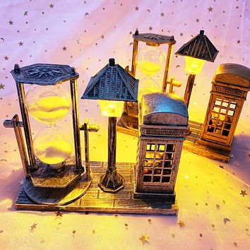 Antique Phone Booth Bear Street Lamp Hourglass Creative Student Gifts Student Gifts Two-Color Night Light Ornaments