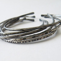 Sterling Silver Open Bangles  Stacking Cuff Hand Hammered Textured Silver Stacking Bangles by SteamyLab