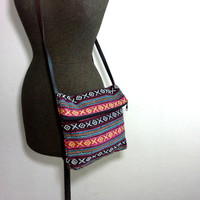 Hippie foldover bag, Fold over crossbody purse, Small cotton purse with leather strap, Boho chic everyday bag, Tribal Aztec bag, Cute Gifts