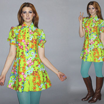 Vintage 60s GROOVY Micro Mini Dress / Lime Green Floral Print Go Go Dress / Puff Sleeve, Dagger Collar / Electric, Neon, Bright / Small