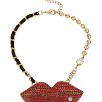 CRITTER STATEMENT RED LIPS NECKLACE