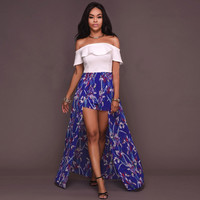 Sexy ruffle floral print jumpsuit romper Women off the shoulder backless overalls Chiffon Causal summer beach playsuit
