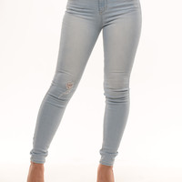 Light Wash Denim Jeans with Rip