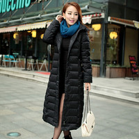 long section down coats women slim warm thick down padded plus size Extra long parkas female hooded all-match leisure coats S991