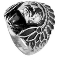 Mens Biker Rings. Chief Indian Head Ring Native American Gothic Biker Jewelry for men. Biker outfit accessories: Chopper Motorcycle Ring