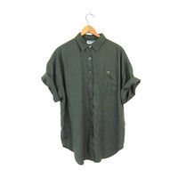 Army Green Rayon Shirt Slouchy 90s Pocket TShirt Button Up Blouse 1990s Short Sleeve Basic Loose Fit Simple Vintage Tee Shirt Womens Large