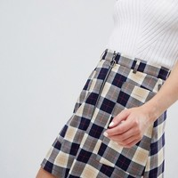 Monki Check A-Line Mini Skirt at asos.com