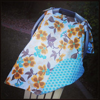 Infant Car Seat Canopy Mustard Teal Flowers