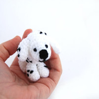 Dalmatian DOG, Puppy Figurine, Miniature Pet Portrait Animal Doll, Crocheted Tiny Stuffed Animal, Gift for pet Lover, Dollhouse baby boy dog