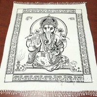 EYES OF INDIA - QUEEN WHITE HIPPIE INDIAN MANDALA GANESHA TAPESTRY WALL HANGING Picnic Bohemian Decor
