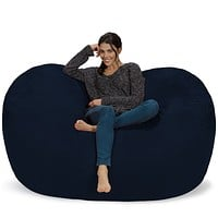 Chill Sack Bean Bag Chair: Huge 6' Memory Foam Furniture Bag and Large Lounger - Big Sofa with Soft Micro Fiber Cover - Navy Microsuede