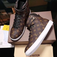 LV Louis Vuitton Supreme Men's Monogram Leather Fashion High Top Sneakers Shoes