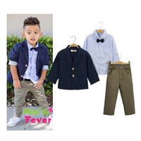 (3 Pcs) Fashion Business Casual Suit Kids Boys Girls Baby Clothing Suit Shirt Trousers Pants Toddler Bodysuits Products Set For Children _ 4722