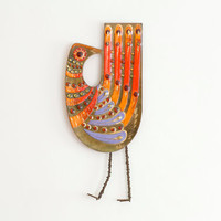 RESERVED for (D) Rare Vintage Curtis Jere Large Mod Enameled Bird Sculpture wall Hanging - Mid Century
