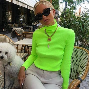 Hot Selling Women's Long Sleeve 4 Color Slim T-shirt Flourescent green