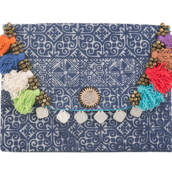 Tribal Clutch Bag with Ethnic Hmong Handmade Batik Fabric in Blue