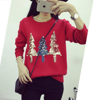 Fashion Sequin Christmas Tree Pattern Sweater