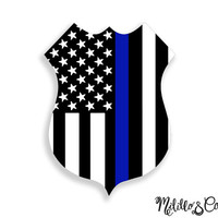 Thin Blue Line Police Officer Badge American Flag Car Decal Sticker