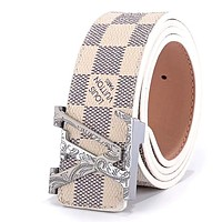 LV tide brand men and women pattern letter head smooth buckle belt