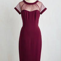 Vintage Inspired Long Short Sleeves Sheath Flair for Fabulous Dress in Bordeaux